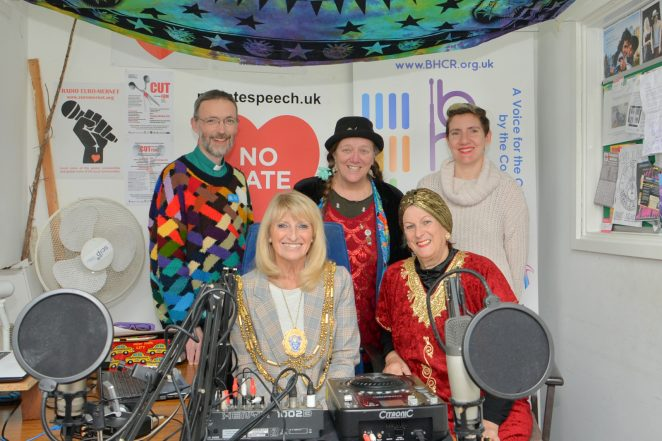 The Mayor and BHCR studio volunteers with the recording equipment
