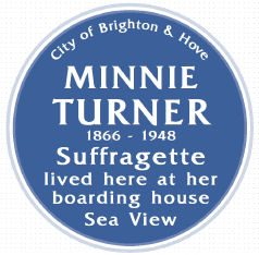 Minnie Taylor Blue Plaque showing birthdate/death | Brighton & Hove Commemorative Plaque panel