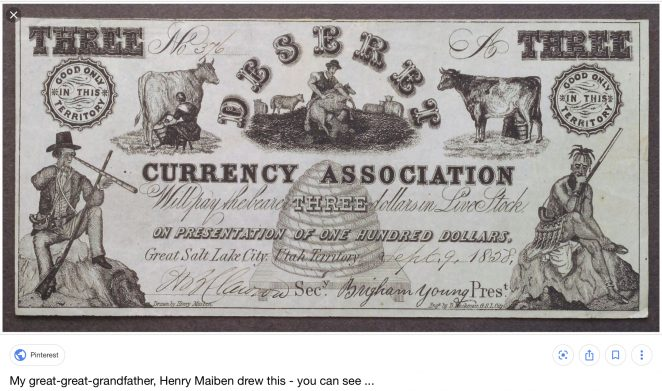 State of Deseret Currency drawn by Henry Maiben