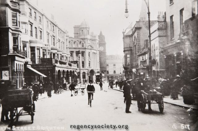 A view of North Street, of the period 1900-1910. Note the colonnade extending from New Road almost to Bond Street. The corner site was rebuilt for the National Provincial Bank in 1922. | With kind permission of The Regency Society