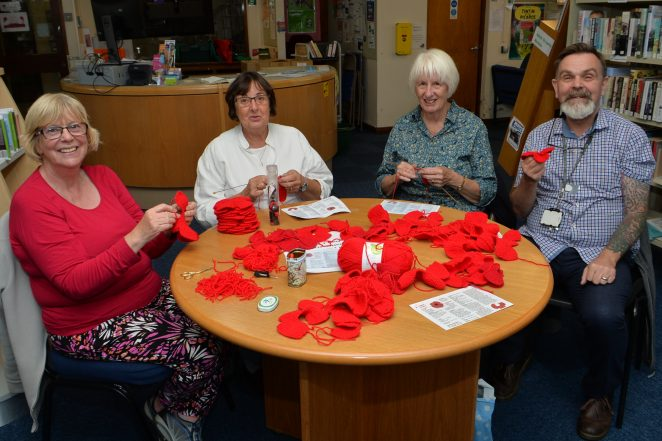 Some of the Knit and Natter ladies with Glenn Stevens of Saltdean Library | © Tony Mould