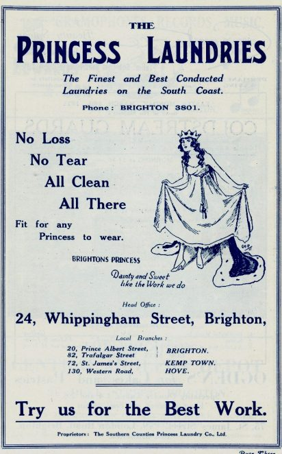 Advert for Princess laundry, from a Palace Pier programme of 1931 | From the private collection of Sam Flowers