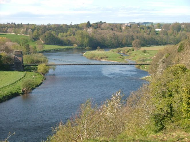 Union Bridge River Tweed. Scotland is on the left of picture.
