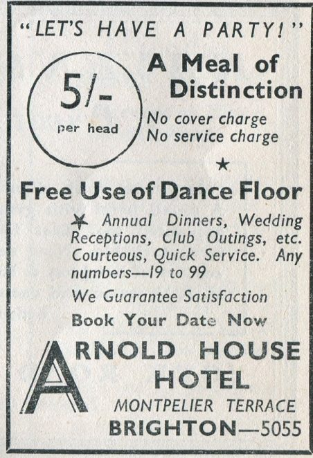 Arnold House Hotel 1947-48 advert