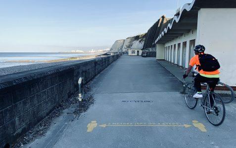 Undercliff walk: 2 metres or 3 steps, Easter weekend, 2020