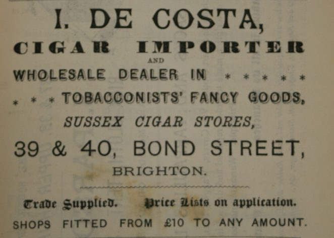 Isaac de Costa 1886 advert
