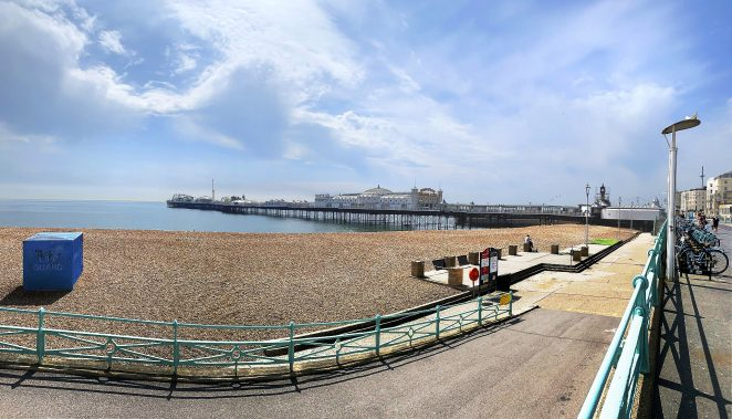 Brighton's main beach, the Pier in the distance, deserted in lockdown | Chris Barbara APRS, All Rights Reserved.