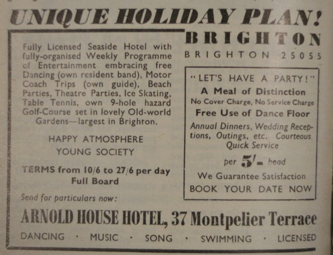 Arnold House Hotel 1953 advert