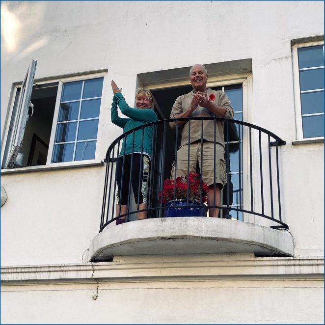 Mayra and Paul clapping for the NHS and other key workers in Sudeley Street | Chris Barbara ARPS. All Rights Reserved.