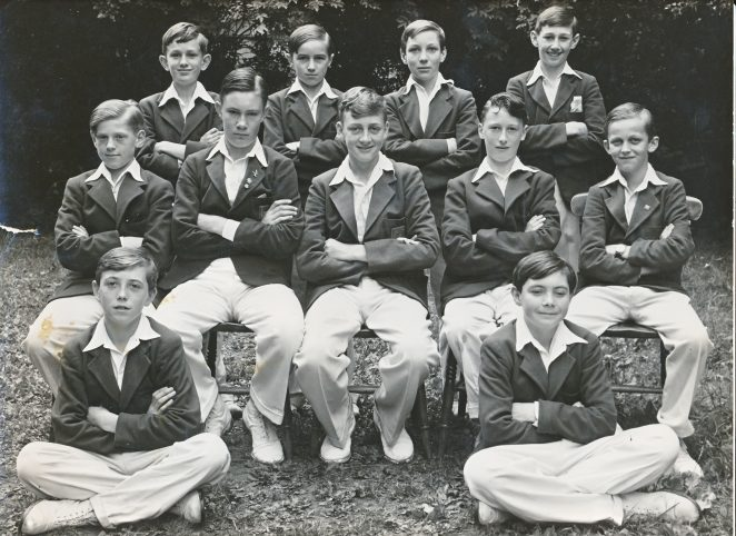 Cricket team 1952. I was captain. Front row: Hughes, Bowyer, Inman, Foreman, Warren. In front sons of Mr Singleton