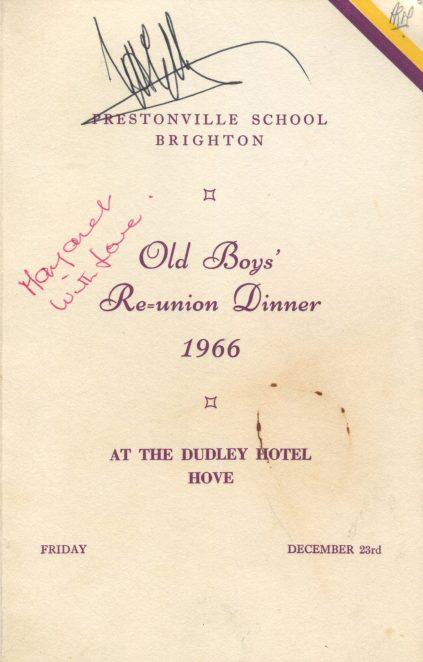 The signed menu of December 1966