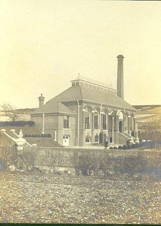 Brighton Waterworks, c. 1910: The engine house at the Mile Oak water works was built in 1900 by Reeves and Kelly and used two Fleming and Ferguson 130 horse-power steam engines. The pumping station was demolished in 1961 and replaced by a new building with an electric water pump.