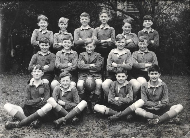 Prestonville School Rugby XV Easter 1951. Back row: Robert Gladding, Tim Loadsman, Roger Ryall, Burr, Urie , Stoner Middle: Jackson, Tim Hunt, Simon Clarke, Melvyn Beaumont, Wingate. Front: Ian Colburn, Chris Dalling, Tyler, Norman Buck