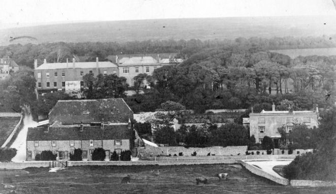 Peartree Cottages are left in this photograph, the Hollands cottage on the left corner. Ovingdean Grange can be seen to the right, and Ovingdean Hall can be seen in the background. | Private collection of Jennifer Drury