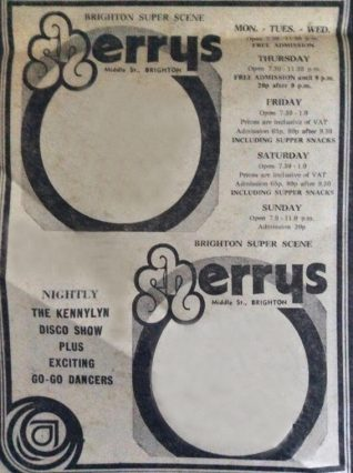 Old Sherrys advertising flyer. | ©SistersWiki.org