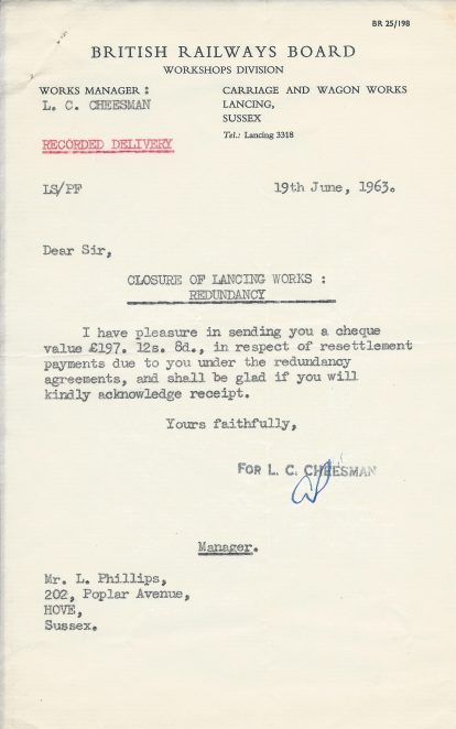Letter advising the amount of redundancy pay.