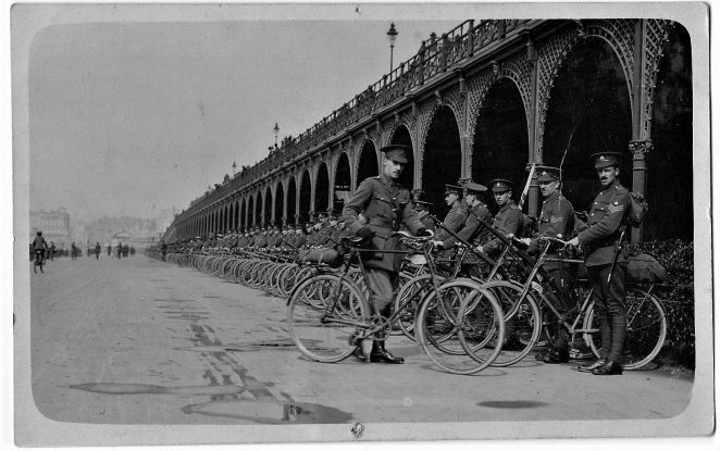 The Royal Sussex Regiment Cycle Section pictured on parade on Madeira Drive in 1913. | Picture courtesy of Ken Green who made this lucky find at a car boot sale