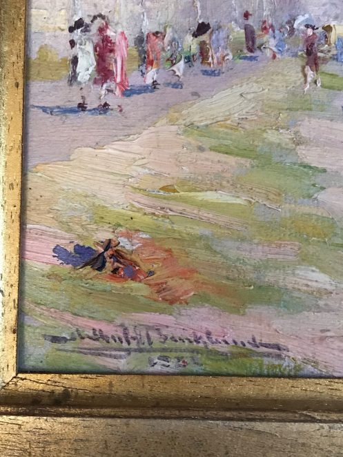 Painting of Brighton beach from Hove - close-up of signature of artist