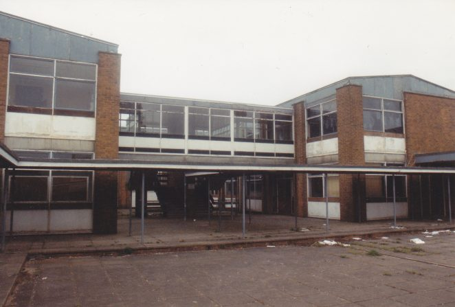 Patcham Fawcett School prior to demolition -House (H) block from the middle quad   Photo by Derek Neal