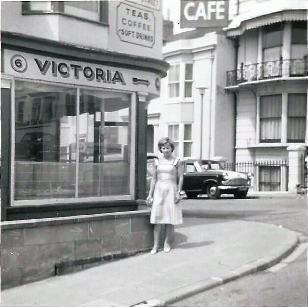 1965 My Mum Monica Mann outside the Cafe. She was Austrian and came to UK in 1946 when Dad was part of the occupation force in Austria after WW2. | © Derek Mann