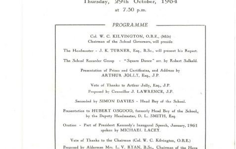 Speech Days & Prize Giving 1963/4