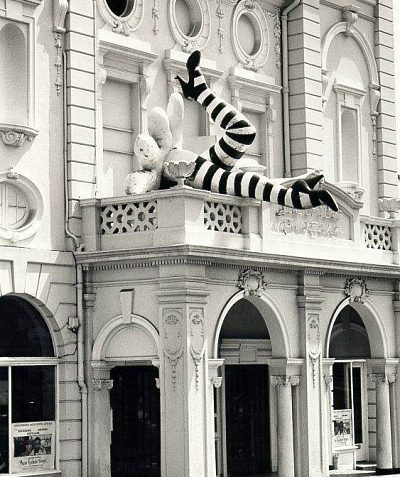 Duke of York Cinema, c. 1990: Front of Duke of York's cinema with humorous legs sculpture. Photograph Copyright Evening Argus. | Image reproduced with kind permission from Brighton and Hove in Pictures by Brighton and Hove City Council