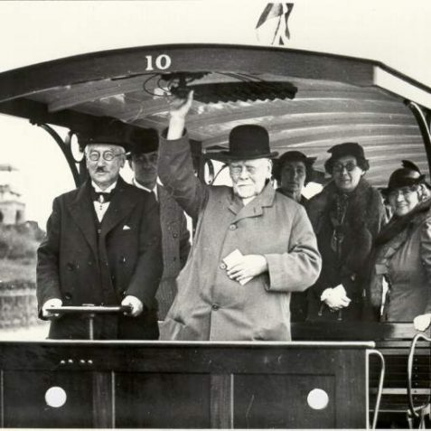 Magnus Volk (right) on the occasion of the 50th anniversary of Volks Railway in 1933 | Image reproduced with kind permission from Brighton and Hove in Pictures by Brighton and Hove City Council