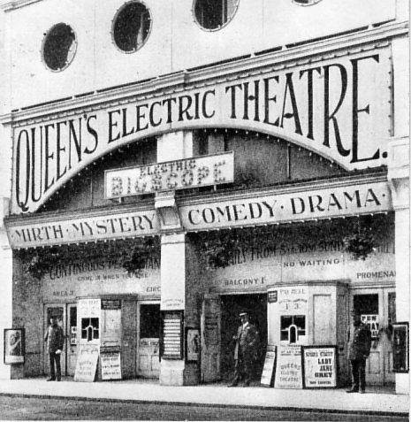 Queen's Electric Theatre, 1911:  The Electric Bioscope opened on 13 January 1909 as a small 50 seater cinema, converted from a shop. In 1910 it was expanded into a neighbouring property and became the Queen's Electric Theatre, seating 250 and featuring a pit orchestra. This is considered to be Brighton's first cinema | Image reproduced with kind permission from Brighton and Hove in Pictures by Brighton and Hove City Council