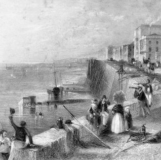 Brighton Sea Wall, c1835: People sitting on the top of the recently-completed sea-wall in Kemp Town. This was built between 1833-1835 with an esplanade running along the top. One man is looking out to sea through a telescope. Some fishing paraphernalia, including rope and a harpoon, is resting against the sea wall and on the ground. The Chain Pier can be seen to the west. | Image reproduced with kind permission from Brighton and Hove in Pictures by Brighton and Hove City Council