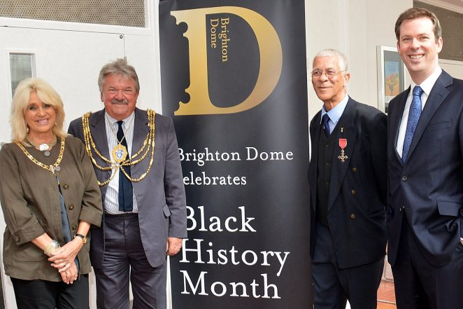 The Mayor and Mayoress of Brighton and Hove, Councillor Bill Randall and Mrs Heather Randall, Bert Williams MBE and Andrew Comben, CEO of Brighton Dome and Festival | Photo by Tony Mould