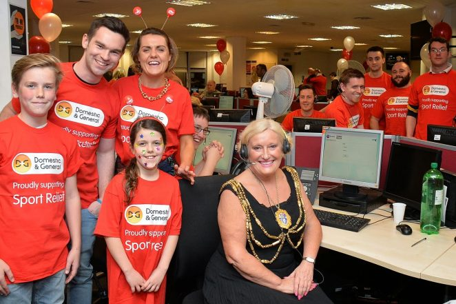The Mayor of Brighton and Hove, Councillor Denise Cobb and volunteers at the Sport Relief phone in. | Photo by Tony Mould