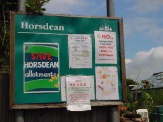 Noticeboard, Horsdean   Photograph by Simon Tobitt