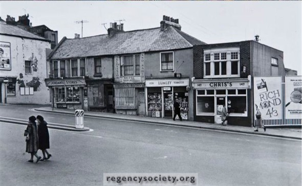 Edward Street in the late 1960s showing Lumleys the newsagent | Image reproduced with kind permission of The Regency Society and The James Gray Collection