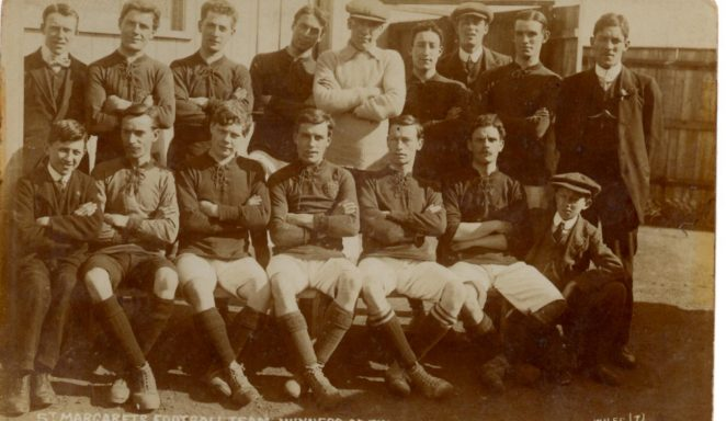 1912 St Margarets football team.  Philip & Claude centre front row & 2nd on left back row | From the private collection of Carole Barrow