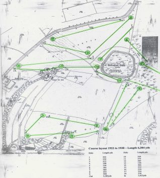 Course layout 1922 - The tees are shown as small rectangles and the greens circles   Private collection of John Knight