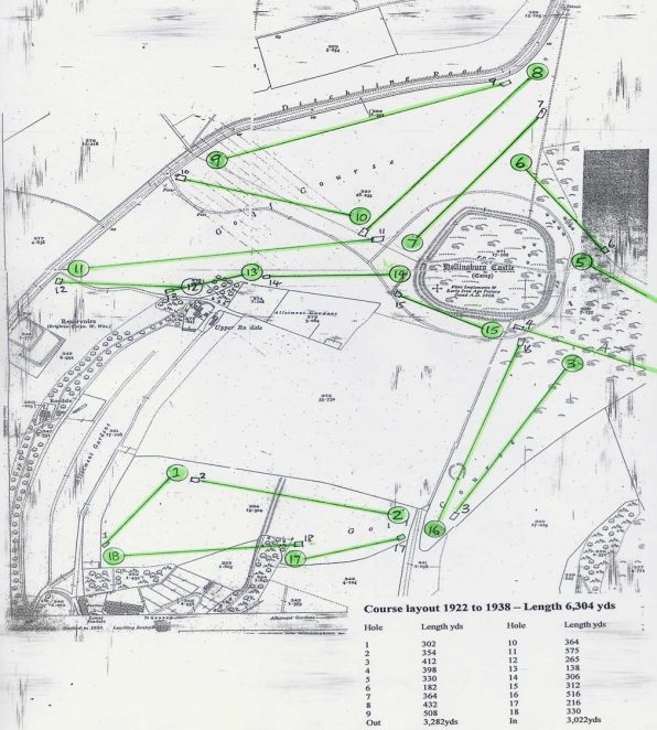 Course layout 1922 - The tees are shown as small rectangles and the greens circles | Private collection of John Knight