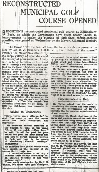 12th April 1938 Opening of the reconstructed course | Brighton & Hove Herald