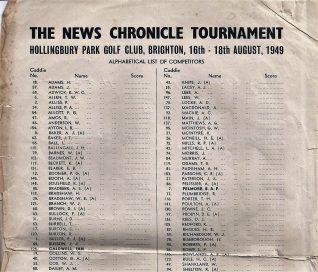 1949 Starters list | HPGC Archive