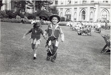 Julie and Mark (cowboy) Sewell on the Pavilion Lawn late 50's | From the private collection of Herbert Tennent