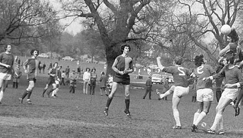 Football game in Preston Park in the 1960s. | From the private collection of Ken Powell. Submitted to the website at My Brighton and Hove 1960s photo event at the History Centre, May 2004