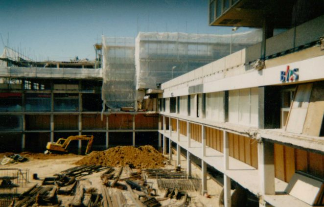 Demolishing the old Churchill Square, c.1996 | From the private collection of Carol Homewood