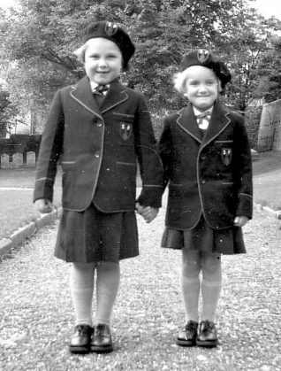 Myself and my older sister Wendy - ready for school! | From the private collection of Patricia Silsby