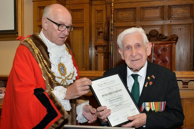 The Mayor of Brighton and Hove, Councillor Brian Fitch presents Bernard Jordan with his certificate | ©Tony Mould: all images copyright protected