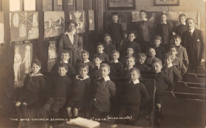 Boys at St. Andrew's taken in 1918. Basil Heryet is on the right 4th row. | From the private collection of Eileen Heryet