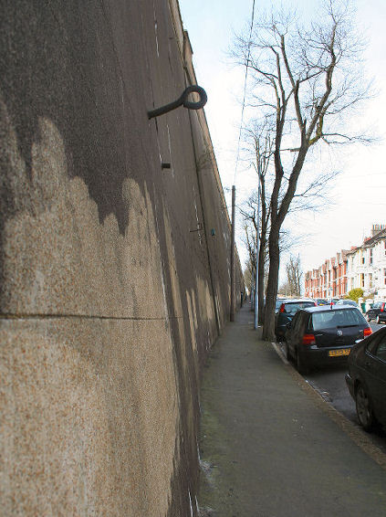 The huge railway retaining wall, Dyke Road Drive | Photo by Peter Groves