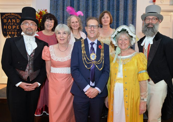 The Mayor of Brighton Councillor Pete West and members of the church volunteers