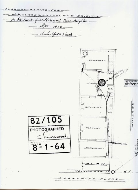 Plan of drains for 31 Claremont Place dated 13 Nov 1882 (view of ground floor)) | From the private collection of C.West