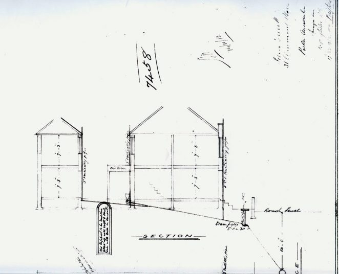 Plan of drains for 31 Claremont Place dated 13 Nov 1882 (side view) | From the private collection of C.West