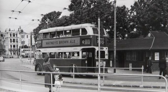 Number 46 trolley bus at the Old Steine 1956   Image reproduced with kind permission of The Regency Society and The James Gray Collection