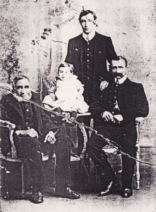 Taken around about 1909, it shows (from left to right) William John Crossfield (bn 1836), William Dickson Alfonso Crossfield (the child, bn 1907), William James Crossfield (bn 1886) and William James Crossfield (bn 1865). | From the private collection of Steve Williams